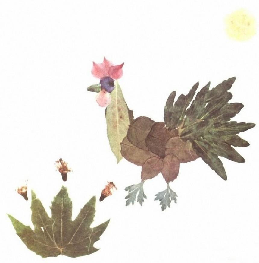 创意树叶拼贴画公鸡 -维他奶 个性树叶拼贴画 翼狐网 原翼虎网