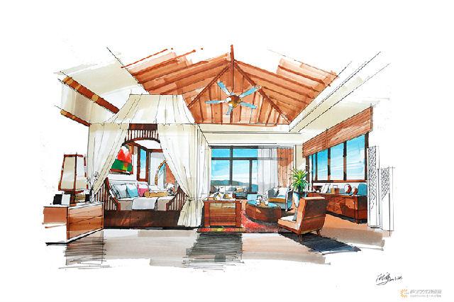 【教程】手绘卧室空间马克笔表现步骤图