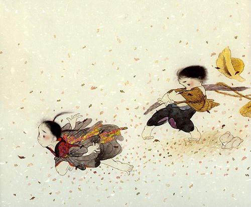 【作品】儿童插画]两小无猜----一组可爱的水墨画