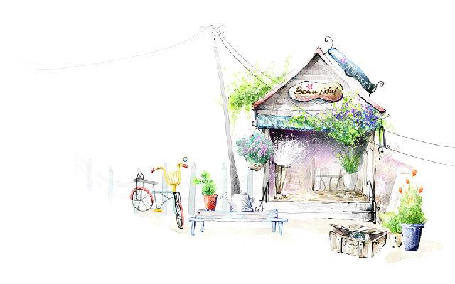 日本手绘小清新风景