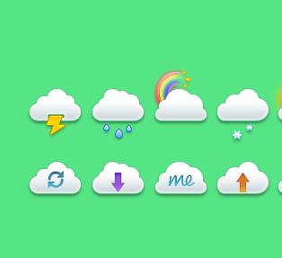 云朵天气图标psd素材