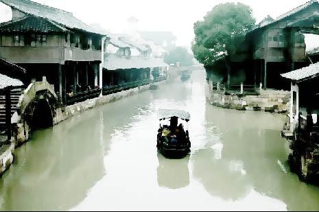 photoshop制作水彩乡村古画风景照片