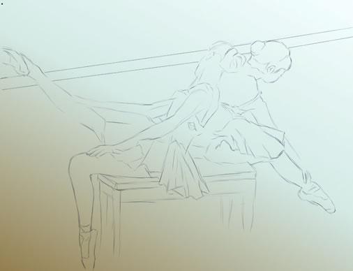 手绘板绘制水彩芭蕾舞少女