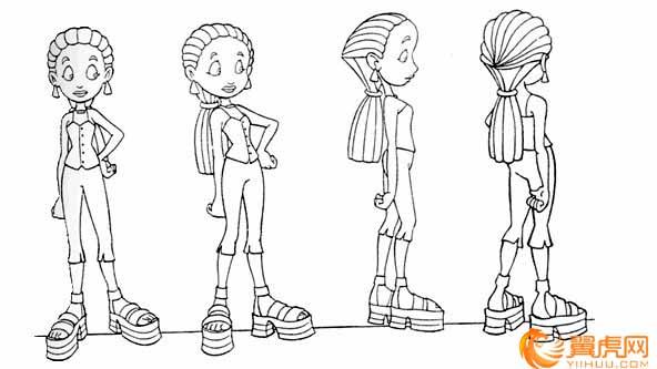 ①动画设计全身造型练习 动画片中的人物角色或动物角色是