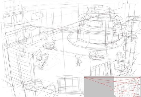 影视动画场景建筑制作教程步骤三:开始绘制场景 接下来是漫长的建筑设施的绘制过程,你需要考虑包括所有主建筑物和设施在内的造型设计。如果你有充裕的时间你完全可以多画一些建筑的效果图(不同角度),便于确认建筑的体积与结构。我主要从中景入手逐一描绘。因为视角的原因,一些较高的设施必须往画面的边缘靠紧。这一部的绘制过程占去了整个制作过程的大半,当然一些现实中的旧照片会对你的构思有所帮助。近景我加入了一个老式的电线杆,增加时代感。
