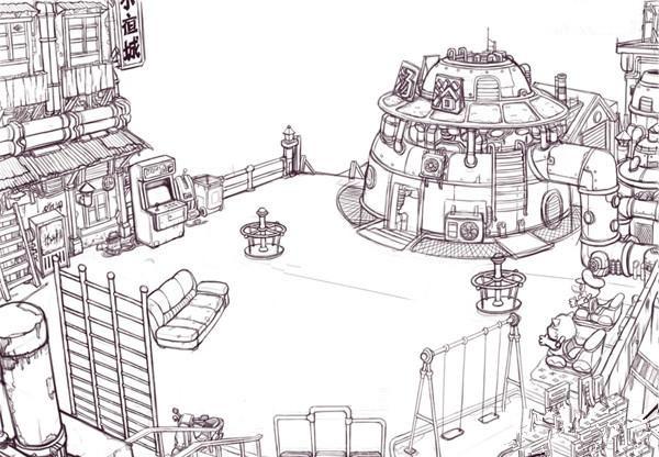 影视动画场景建筑制作教程步骤四:远景 我最初构思了一部斜跨画面的大桥,但是这样似乎对构图的美观有一些影响,于是就把他挪到了右边。这样左边空出的地方就可以方便的处理远近的高楼。在中远景又添了一个缆车,使画面生动一些,这样主要的建筑设施就完成了。