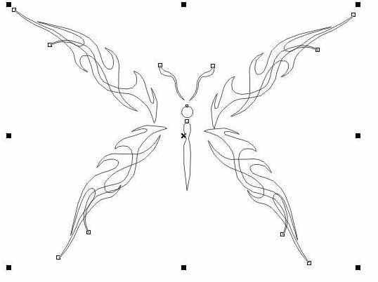 選定其中一個使用【鏡像工具】 coreldraw快速打造出精美蝴蝶花紋步驟圖片