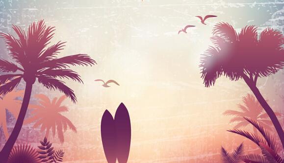 资源下载 设计素材下载 冲浪板和椰子树  平面广告 2015-07-10上传