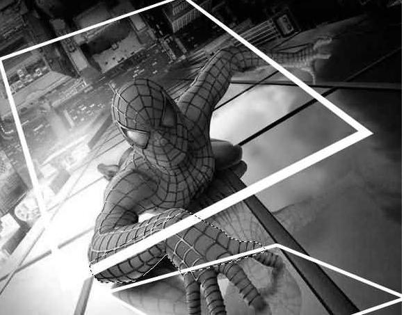 蜘蛛侠爬出照片的效果