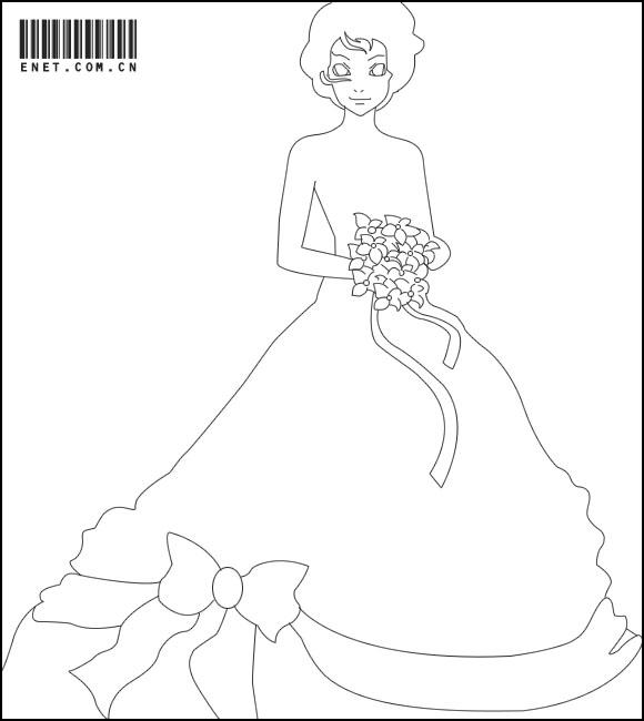 如下图所示: 步骤3,下面用钢笔勾出婚纱下端的蝴蝶结与褶皱部分.