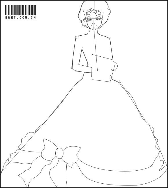 婚纱简笔画步骤图长尾