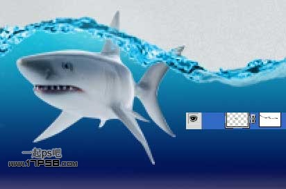 """ps合成玻璃瓶中的海底鲨鱼步骤22"""