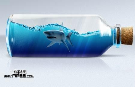 """ps合成玻璃瓶中的海底鲨鱼步骤30"""