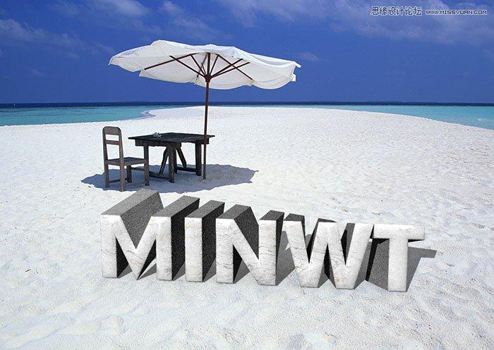 PS制作沙滩立体字体
