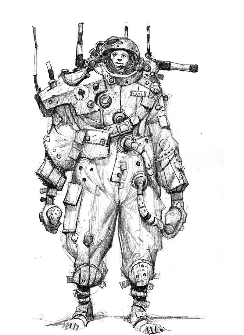 sumida是一个漫画家和故事板的艺术家,添加一些颜色是他绘制科幻场景