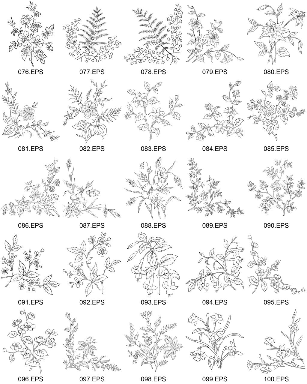 白描花卉植物矢量素材包