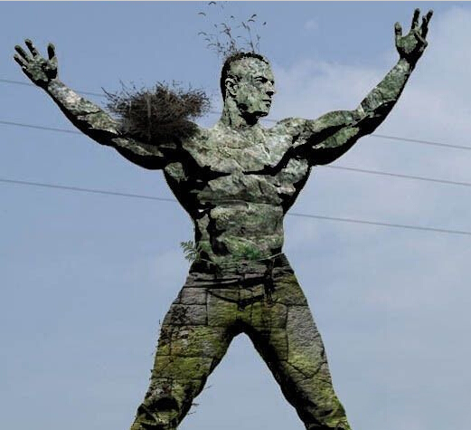 ps将人体素材变成龟裂的石头材质