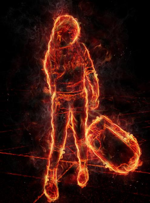 用ps制作一幅燃烧的人物线条画