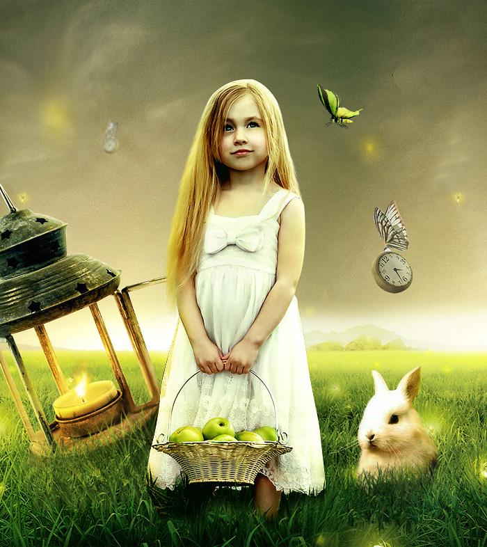 PS合成童话色彩的小女孩梦想世界