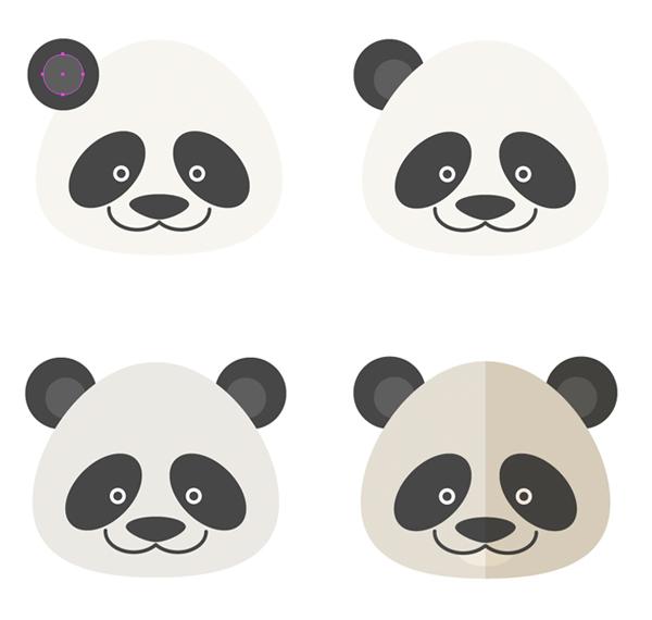 illustratorai绘制六个扁平化风格的卡通小动物肖像
