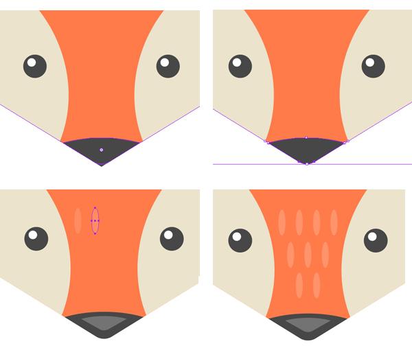 第1步 首先从一个由椭圆工具(L)制作的60*60 px大小的圆形成猫的脸。 用浅褐色填充这个圆。  第2步 用直接选择工具(A)选择两边的锚点并将其向下拉动,改变脸部的形状。  第3步 现在让我们制作猫的耳朵。 选取多边形工具并制作一个大小大约为17 * 15 px的三角形。 使用效果>变形>凸出并设置垂直方向的弯曲值为40%。 给这个形状应用对象>扩展外观的效果。 用直接选择工具(A)选择上面的锚点,并在上面的属性面板中点击转换角为平滑按钮,制作平滑的角。 缩短这个锚点的锚柄并将其向
