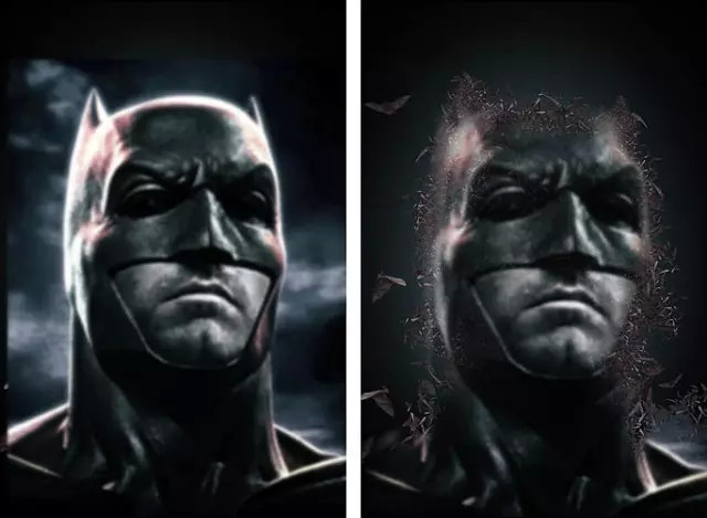 photoshop图文教程 ps制作酷炫蝙蝠侠海报    5,把模糊之后的素材放置