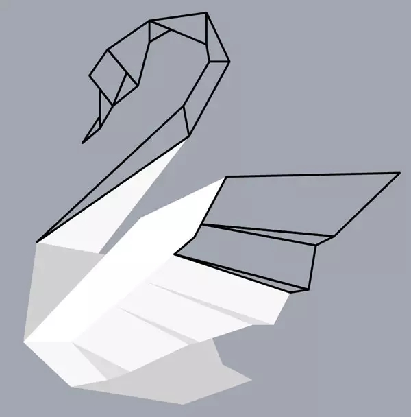 巧用ai绘制漂亮折纸天鹅