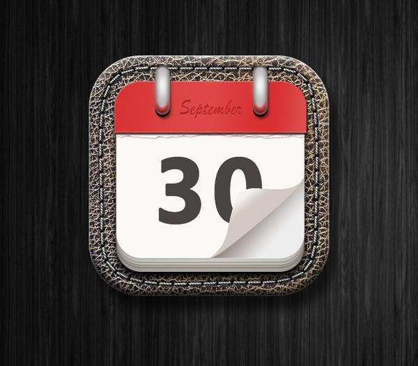 PS绘制一枚经典的写实日历图标