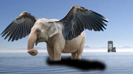 帮大象ps上一对翅膀