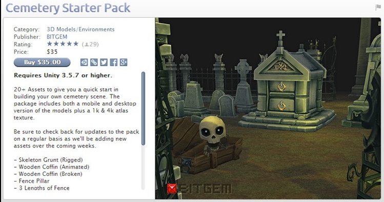 unity3d 游戏模型 Cemetery Starter Pack 卡通骷髅场景墓地