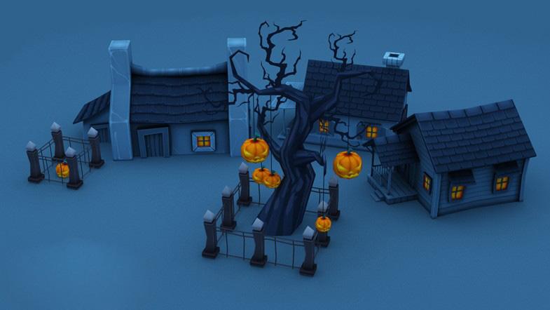 Cartoon Halloween Farm