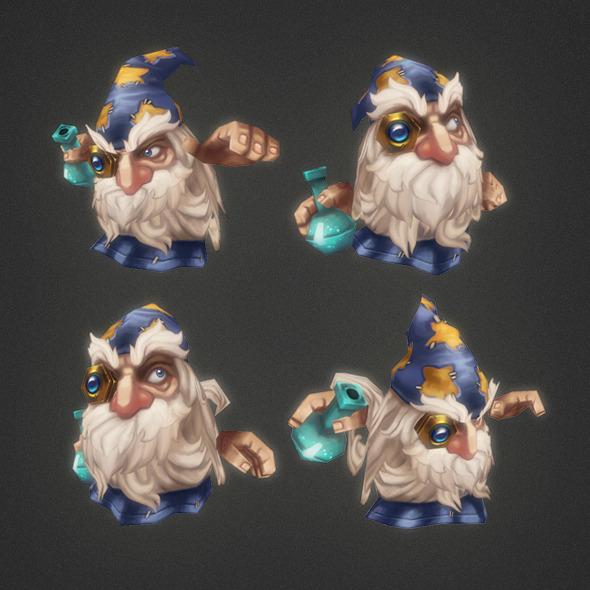 unity3d卡通巫师模型Micro Wizard Morgan Fizban