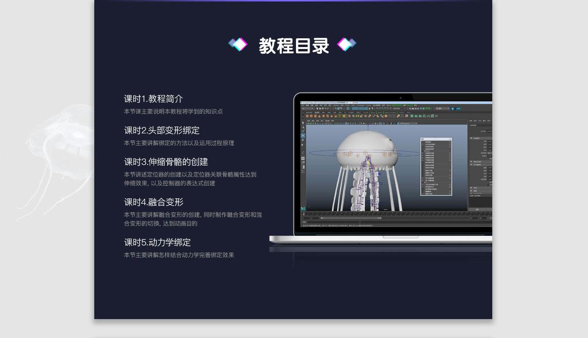 Maya动画软体动物之小水母绑定案例教程