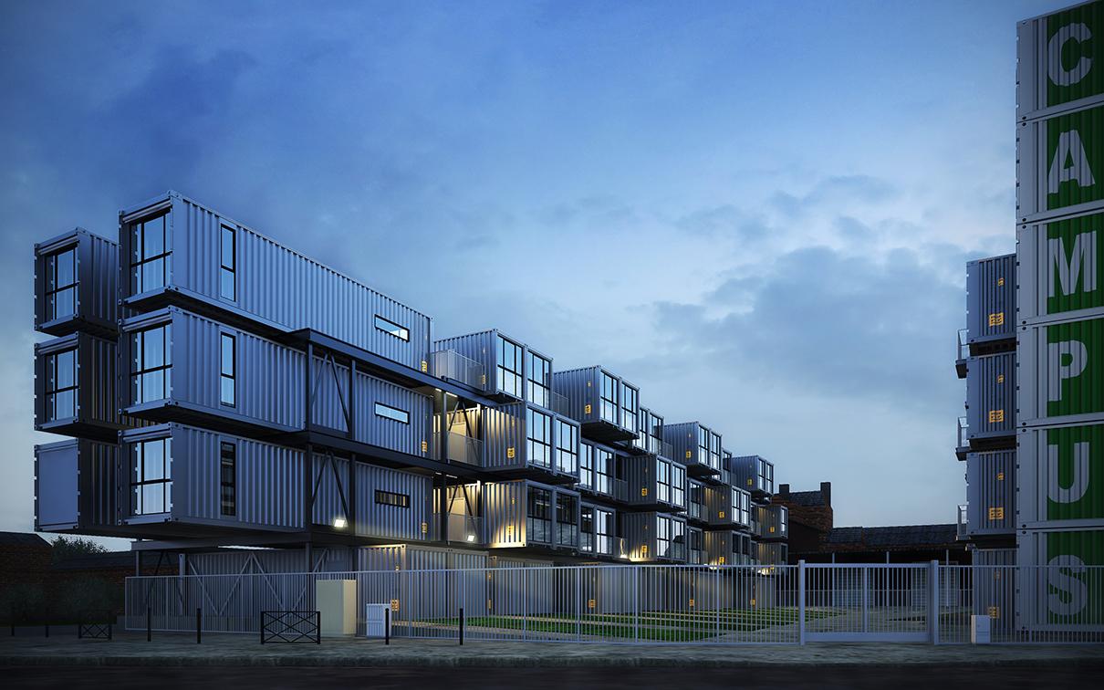 max制作室外建筑效果图,本次制作的案例为集装箱公寓.图片