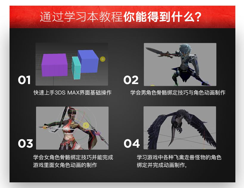 3DsMax骨骼绑定游戏动画实战教程
