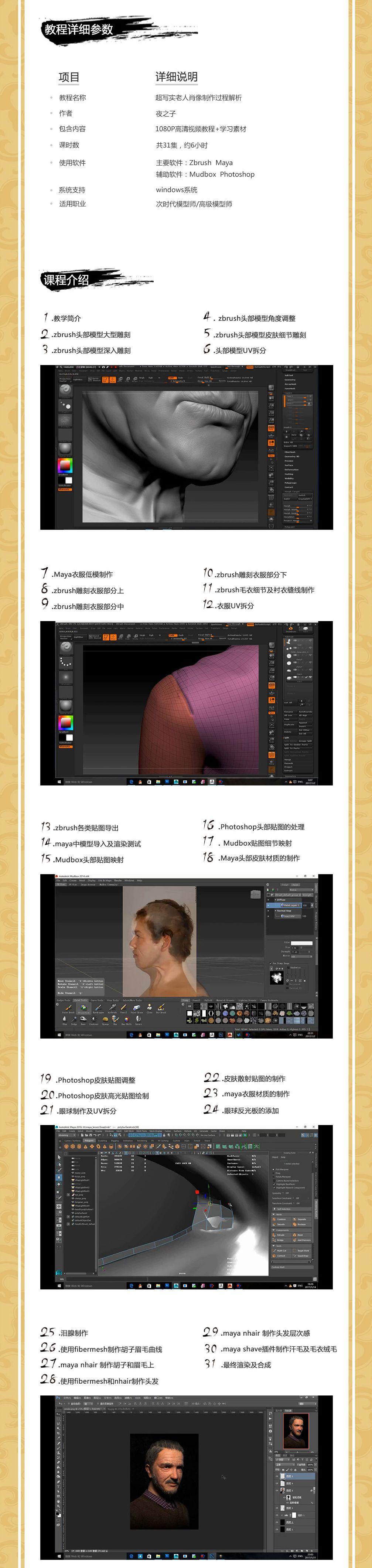 zbrush超写实人像制作全流程教程