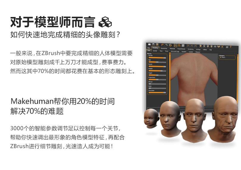 Zbrush + MakeHuman如何快速地完成精细的头像雕刻