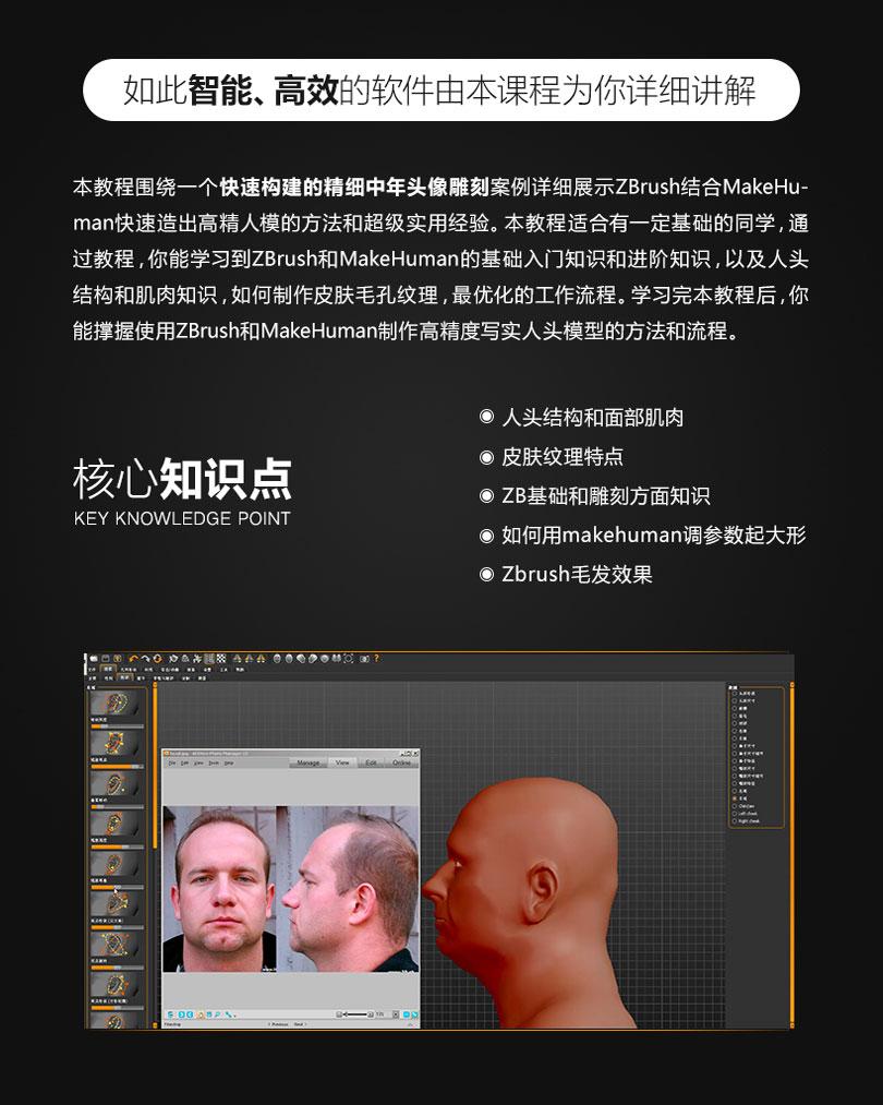 Zbrush人头模型及毛发雕刻案例教程核心知识点