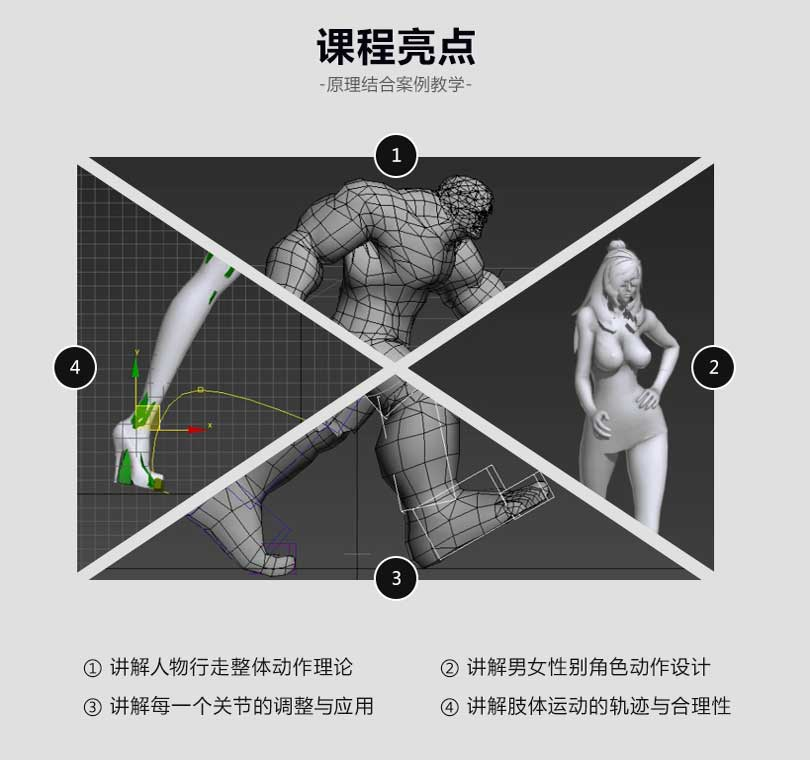 3dmax人物行走动画制作课程亮点