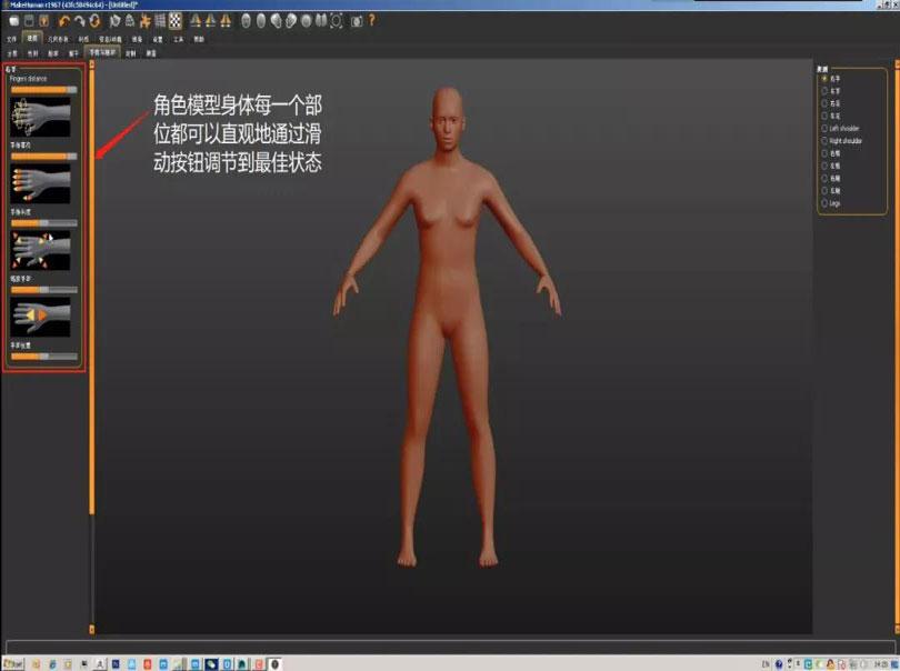 MakeHuman人体模型身体部位调节