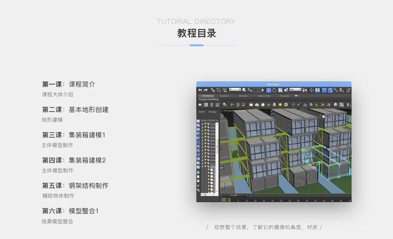 3dmax室外建筑制作之集装箱公寓实战教程目录