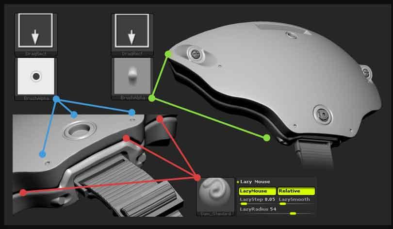 ZBrush制作硬表面雕刻工整的细节