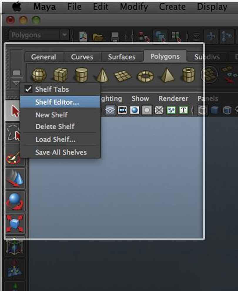 Maya硬表面建模时简单的设置工具架