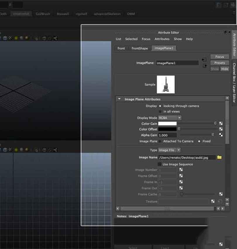 Maya硬表面建模之在属性编辑器中找到imagePlane