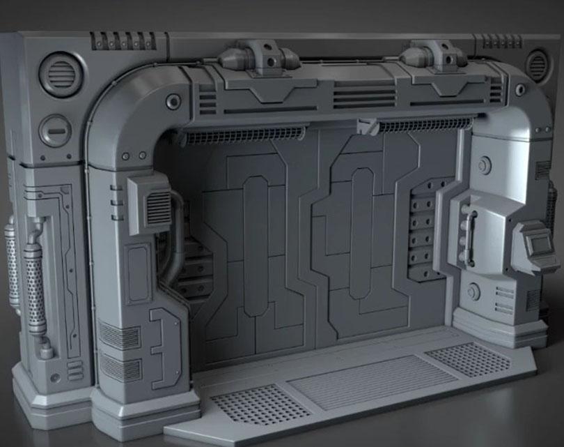 Cinema 4D硬表面建模实例-科幻门