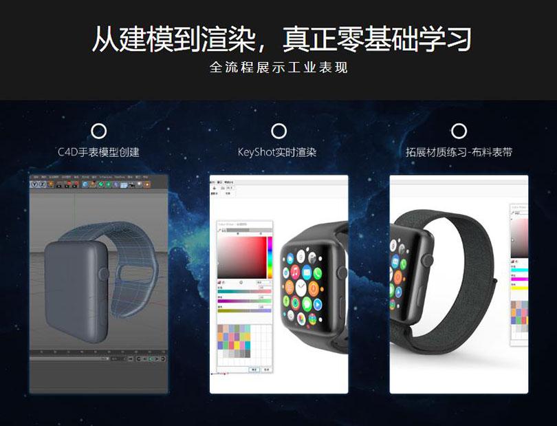 C4D+KeyShot工业设计之Apple Watch3案例教程核心知识点之从建模到渲染的工业产品