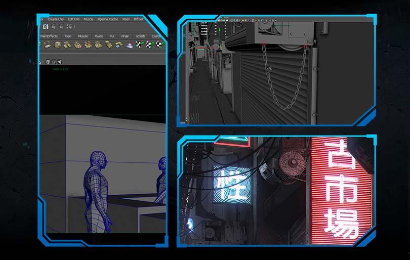 《科幻街道》CG写实场景创建全流程教程亮点之细节元素与灯光氛围难点突破