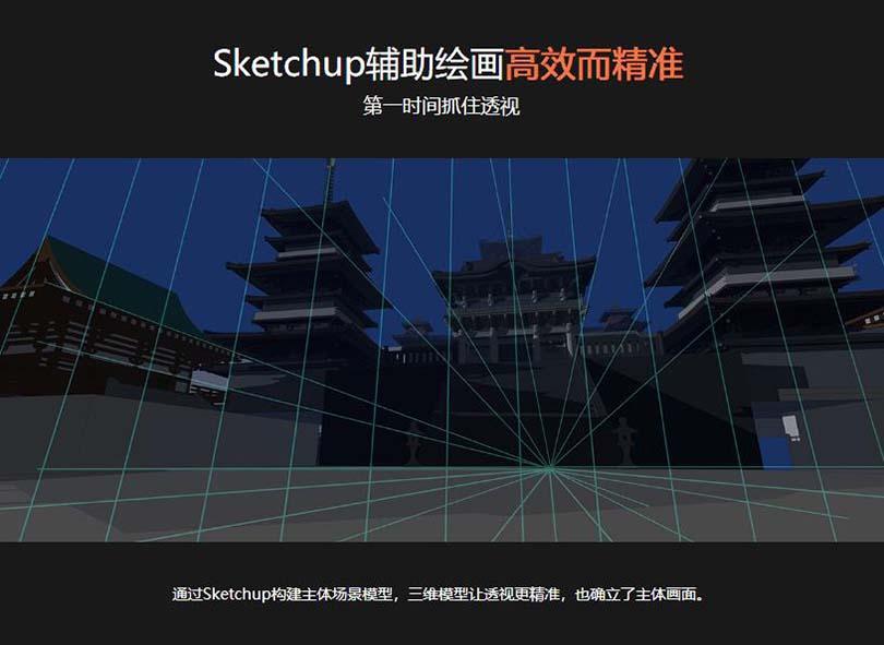 PS绘制场景氛围图案例教程亮点之Sketchup辅助绘画高效而精准