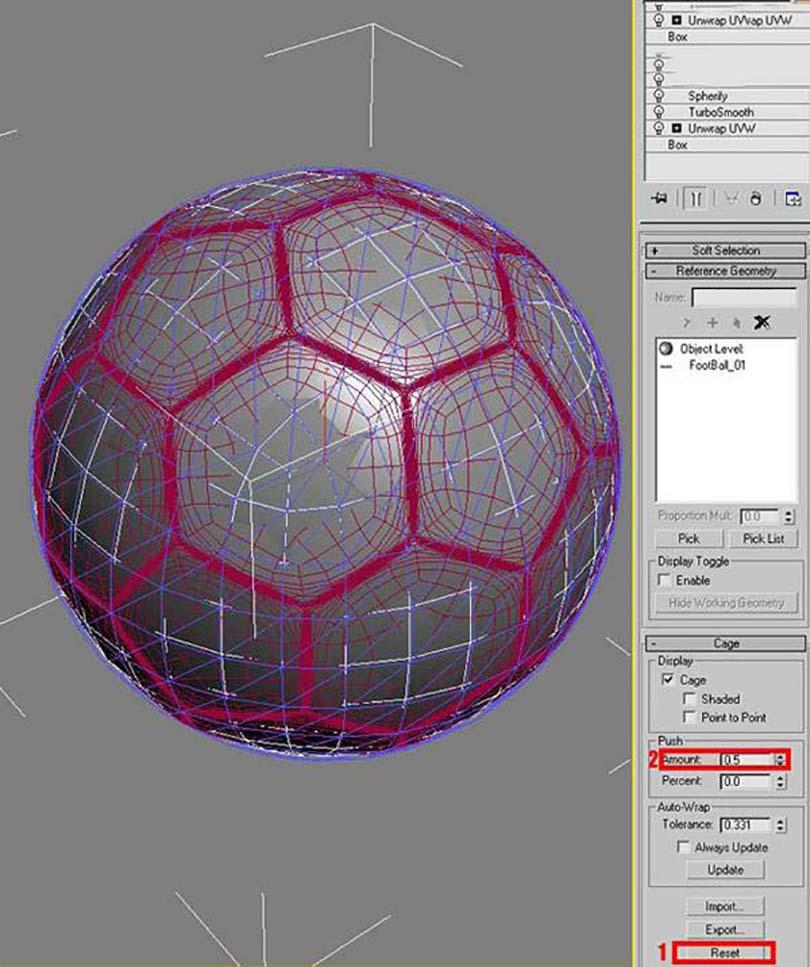 3DsMAX足球贴图具体的制作步骤之添加一个映射修改器,并修改参数