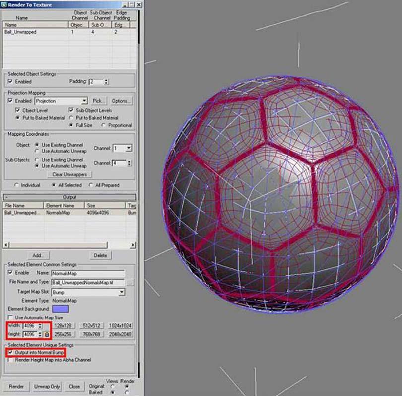 3DsMAX足球贴图具体的制作步骤之点击渲染按钮,慢慢的等待最后的烘焙结果